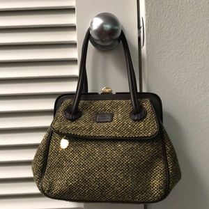 Lulu Guinness brown/green tweed fabric mini bag.